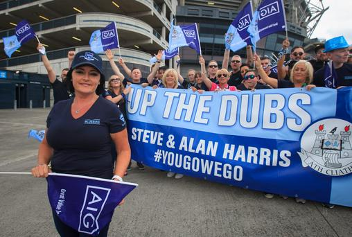Tracy Harris, widow of GAA-mad Alan Harris, who died in a Portmarnock sewer accident along with his brother Steve with family and friends at the Leinster semi-finals between Dublin and Kildare in Croke Park yesterday. Photo: Collins
