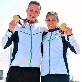 Ireland boxing gold medallists Michael O'Reilly and Katie Taylor pictured in the Athletes Village in Baku yesterday