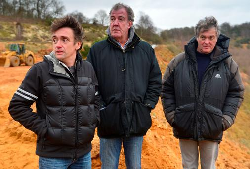 Richard Hammond, Jeremy Clarkson and James May in the final 'Top Gear' show featuring the three presenters