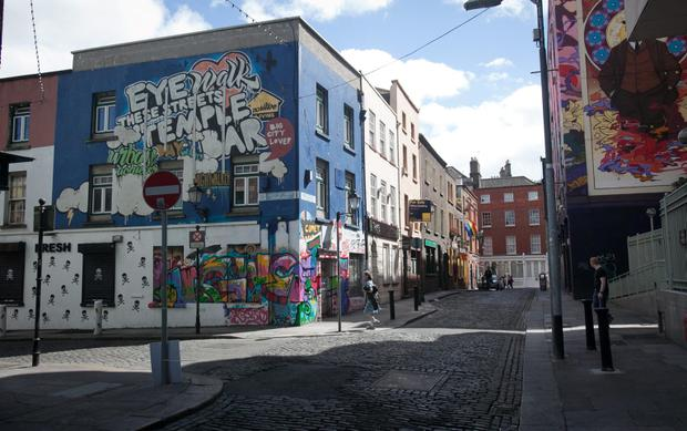 Cope Street, Temple Bar, where a man in his 30s was stabbed a number of times and is in a critical condition at St James' Hospital