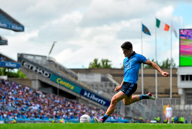 28 June 2015; Dublin's Diarmuid Connolly shoots to score his side's fourth goal of the game. Leinster GAA Football Senior Championship, Semi-Final, Dublin v Kildare. Croke Park, Dublin. Picture credit: Ramsey Cardy / SPORTSFILE