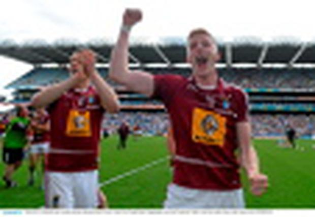28 June 2015; Westmeath's Ray Connellan celebrates following his side's victory. Leinster GAA Football Senior Championship, Semi-Final, Westmeath v Meath. Croke Park, Dublin. Picture credit: Ramsey Cardy / SPORTSFILE