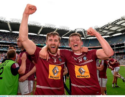28 June 2015; Westmeath's Kevin Maguire, left, and John Heslin celebrate after the game. Leinster GAA Football Senior Championship, Semi-Final, Westmeath v Meath. Croke Park, Dublin. Picture credit: Ray McManus / SPORTSFILE