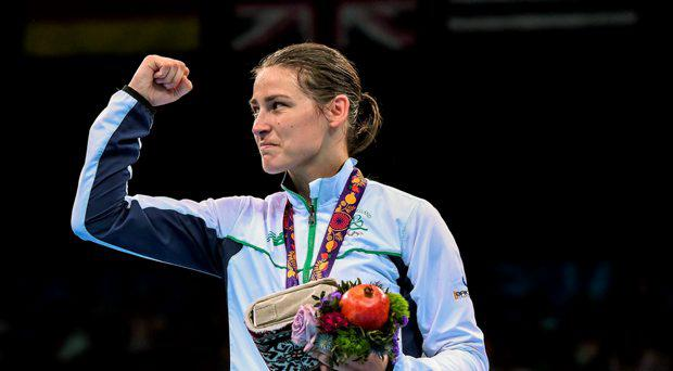 Katie Taylor, Ireland, after being presented with her Women's Boxing Light 60kg Final gold medal. 2015 European Games, Crystal Hall, Baku, Azerbaijan
