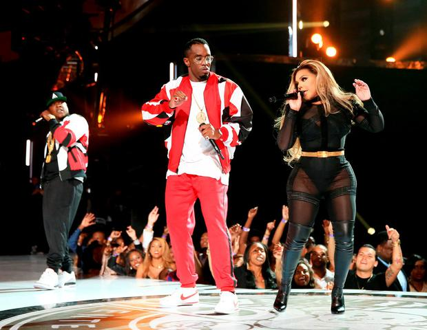 LOS ANGELES, CA - JUNE 28: (L-R) Recording artists Jadakiss of The Lox, Sean 'Diddy' Combs and Lil' Kim perform onstage during the 2015 BET Awards at the Microsoft Theater on June 28, 2015 in Los Angeles, California. (Photo by Christopher Polk/BET/Getty Images for BET)