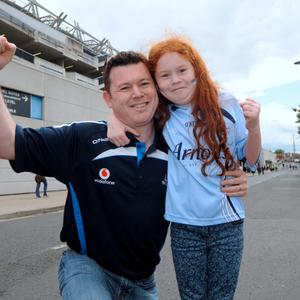 28 Jun 2015; Dublin fans Michael Finucane, from Navan, with daugher Ruby, 8. Leinster Senior Football championship semi-final, Dublin v Kildare. Croke Park, Dublin, Dublin. Picture: Caroline Quinn
