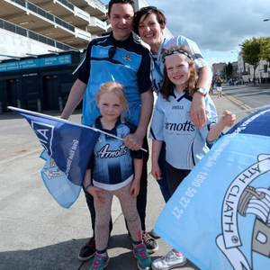28 Jun 2015; Dublin fans Rob and Deirdre Mullen, from Beaumont, with children Roisin, 7, Aoibhinn, 4. Leinster Senior Football championship semi-final, Dublin v Kildare. Croke Park, Dublin, Dublin. Picture: Caroline Quinn