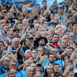 28 Jun 2015; Fans applaud on Hill16 for Harris brothers and Berkeley victims. Leinster Senior Football championship semi-final, Dublin v Kildare. Croke Park, Dublin, Dublin. Picture: Caroline Quinn