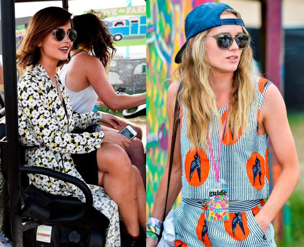 Jenna Coleman (left) and Cressida Bonas (right) at Glastonbury