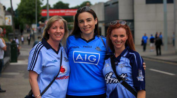 Dublin fans (L to R) Elaine Kenny from Cabra, Yvonne hedderman from Cabinteely & Natalie Faul from Drumcondra at the Double Header Leinster Semi Finals between Dublin V Kildare & Meath V West Meath in Croke Park, Dublin