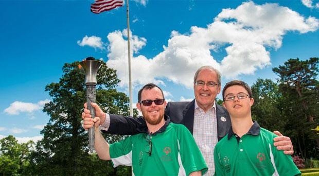 Paul Kirrane, Ennis, Co Clare, Billy Kane, Swords, Co Dublin, and the Ambassador Kevin F. O'Malley. US Ambassador's Residence, Phoenix Park