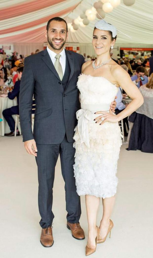 Julian Okines & Amanda Byram pictured at the 150th Dubai Duty Free Irish Derby at the Curragh Racecourse on Saturday 27th June. Photo Anthony Woods.