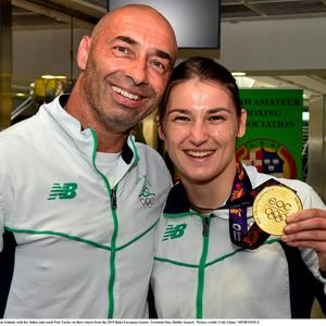 Katie Taylor with her father Pete Taylor on their return from the 2015 Baku European Games