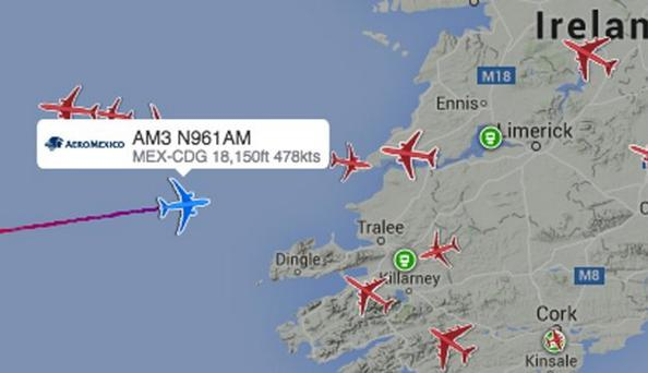 The flight declared an emergency as it approached the Irish coast Credit: AirLive.net