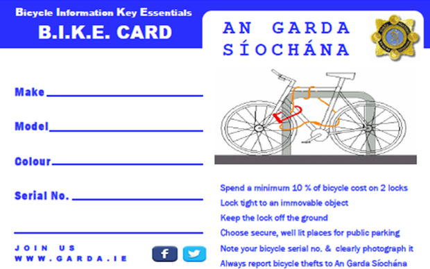 Bicycle Information Key Essentials Card.