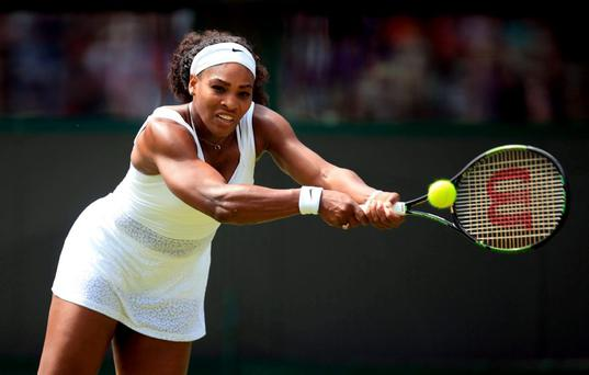 Serena Williams in action against Margarita Gasparyan in the the First round women's singles during day one of Wimbledon