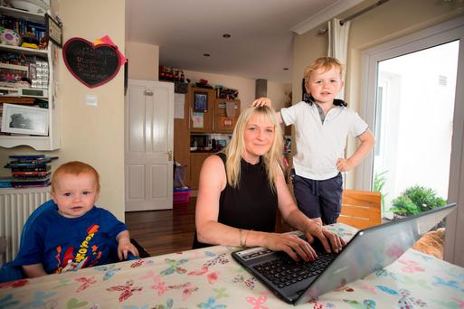 Lucinda Carty with her sons Mark (3) and James (1) Photo: Mark Condren