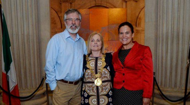 Newly elected Lord Mayor of Dublin Criona Ni Dhalaigh, centre, Gerry Adams and Mary Lou McDonald. City Hall, Lord Edward Street, Dublin