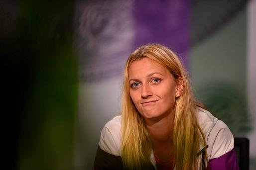 Czech Republic's Petra Kvitova gives a press conference in the Main Interview Room during a preview day for the Wimbledon Championships