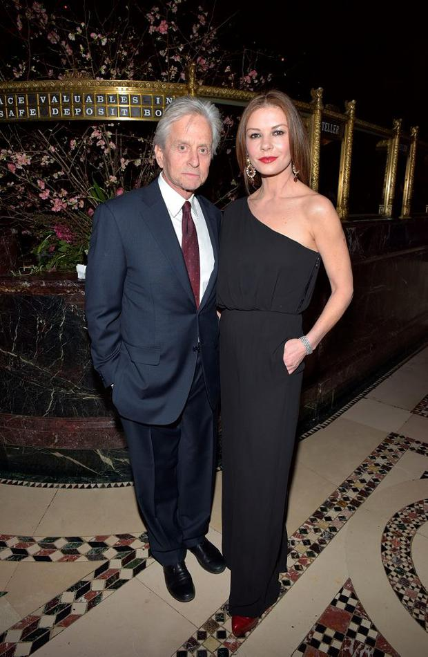 Michael Douglas and Catherine Zeta-Jones attend the Phoenix House Public Service Award Dinner at Cipriani 42nd Street on January 29, 2015 in New York City. (Photo by Grant Lamos IV/Getty Images)