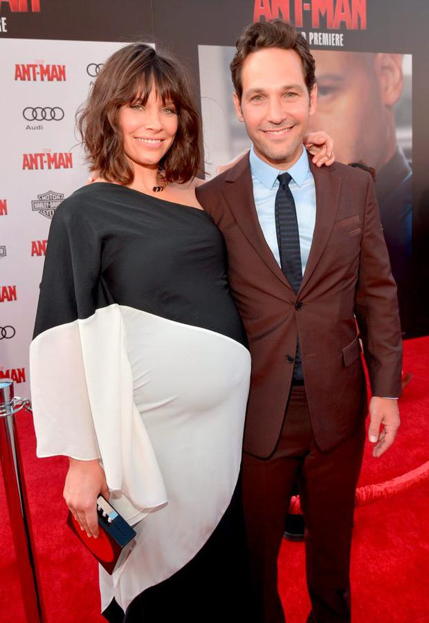 Actors Evangeline Lilly (L) and Paul Rudd attend the world premiere of Marvel's