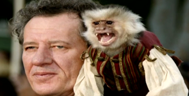 Jack the monkey plays sidekick to Geoffrey Rush's character in the film franchise.