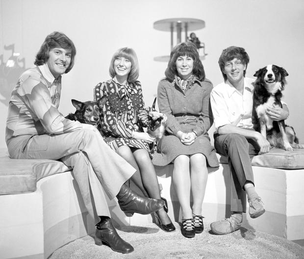 'Blue Peter' presenters in 1972 (from the left) Peter Purves, Lesley Judd, Valerie Singleton and John Noakes with his dog 'Shep. Photo: PA Wire