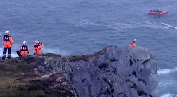 Emergency services, Irish Coastguard and the RNLI pictured near Baltimore, co. Cork where two people have died and a third is missing' Pic Paul Cunningham/Provision