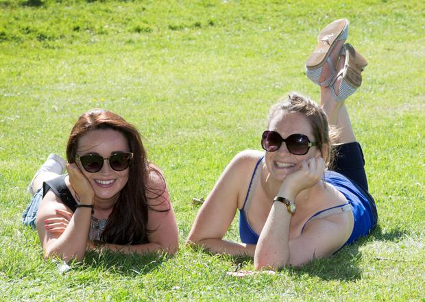 Nicola Moran and Ríona Moore, both Castleknock pictured enjoying the sun at The Phoenix Park yesterday.