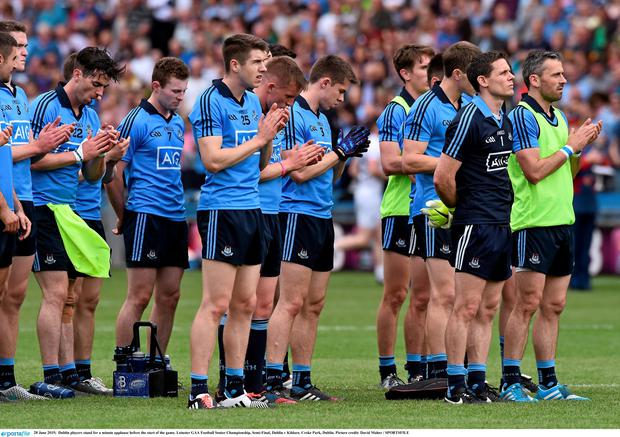 Dublin players stand for a minute applause before the start of the game. Leinster GAA Football Senior Championship, Semi-Final, Dublin v Kildare. Croke Park, Dublin