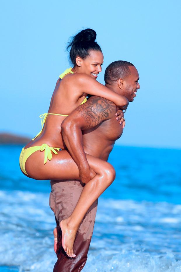 Samantha Mumba and husband Torray Scales hit the beach in Miami