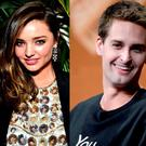 Miranda Kerr (left) and Evan Spiegel (right)