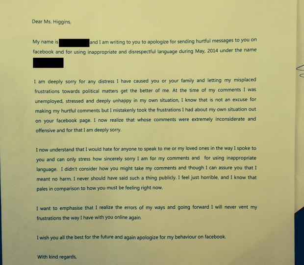 A copy of the letter sent to Ms Higgins