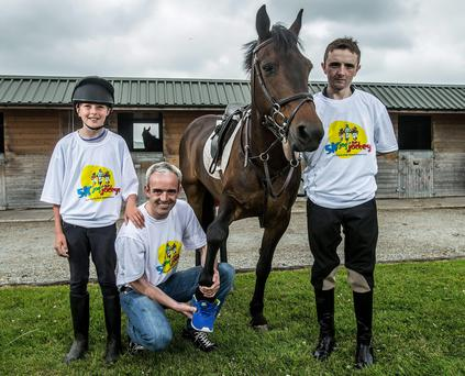 At yesterday's launch of the Jog for Jockeys fundraising day at the Curragh on August 23 were Charlie O'Dwyer, Ruby Walsh and Chris Hayes