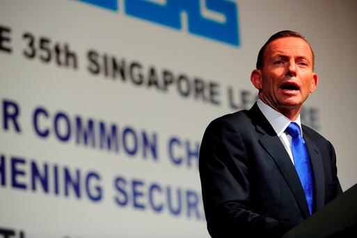 Australia's Prime Minister Tony Abbott speaking at the 35th Singapore Lecture in Singapore on Monday. AFP PHOTO/MOHD FYROLMOHD FYROL/AFP/Getty Images