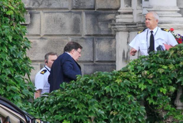 02/07/2015 Former Taoiseach Brian Cowen TD arrives at the Oireachtas Banking Inquiry in Leinster House, Dublin. Photo: Gareth Chaney Collins
