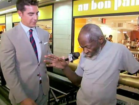 Jesse Waters of Fox News interviews a homeless man in Penn Station