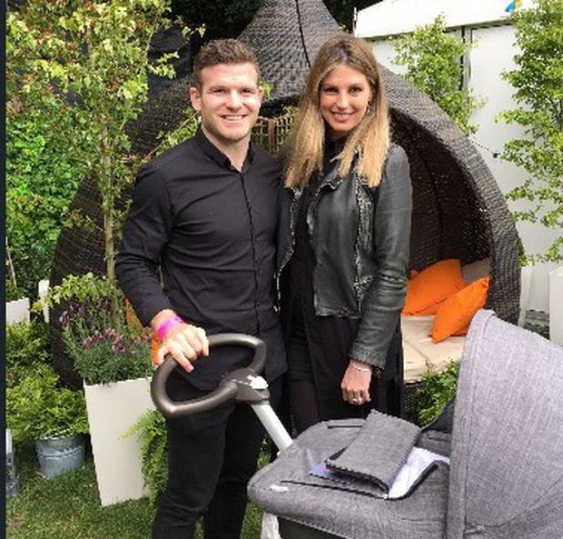 Gordon D'Arcy and Aoife Cogan brought their three-week-old daughter Soleil to Taste of Dublin