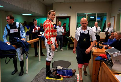 Victoria Pendleton is weighed at Newbury Racecourse, Newbury on Thursday (Nick Potts/PA Wire)
