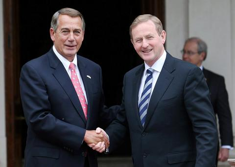 Taoiseach Enda Kenny shakes hands with Speaker of the House John Boehner at Farmleigh House. Photo: Damien Eagers
