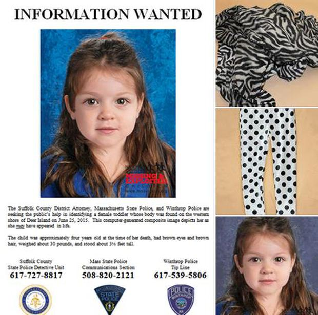 Massachusetts police release computer-generated image of young girl and a picture of the blanket and leggings found in the bag