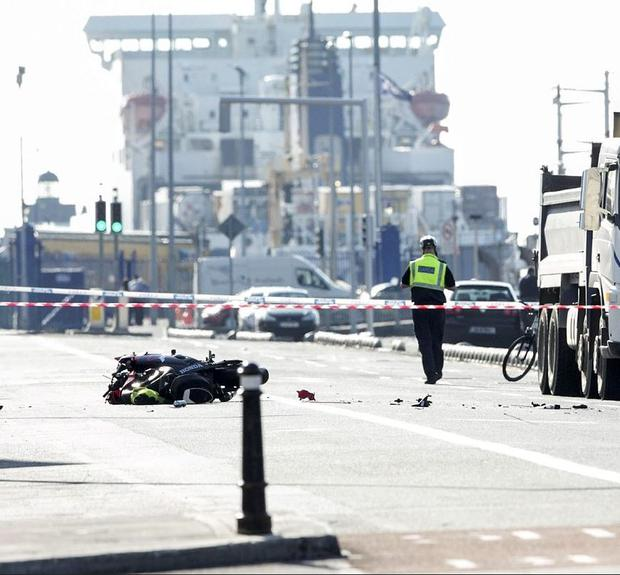 Scene of the fatal motorbike crash on the North Quays near the 3 Arena this morning (Photo: Kyran O'Brien)