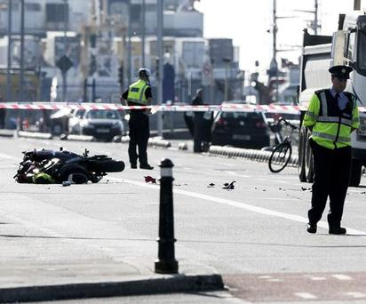 Scene of the fatal motorbike crash on the North Quays near the 3 Arena (Photo: Kyran O'Brien)