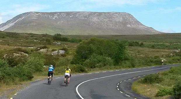 Cycling Gaelforce North with Muckish in the background