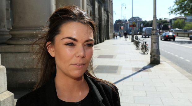 Claire Lalor, from Swords, Co. Dublin pictured speaking to the media on leaving the Four Courts after a High Court action for damages