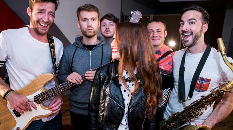 Misterwives...from left William Hehir,Etienne Bowler,Marc Campbell,Amanda Lee,Jesse Blum and Mike Murphy During the Windmill Lane Sessions