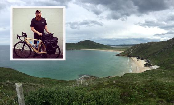 Mark Graham (inset) and a photo he took along the first week of his Wild Atlantic Way cycle.