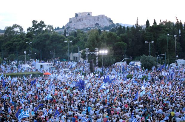 'Yes' supporters gather during a pro-Euro rally next to the Panathenean stadium in Athens, Greece