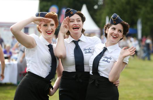 Bugle babes, from left to right: Kate Fitzgerald, Derby Browne and Eileen Coyle enjoying the US Independence Day celebrations at the American Ambassador's Residence in the Phoenix Park, Dublin, yesterday. Photo: Damien Eagers
