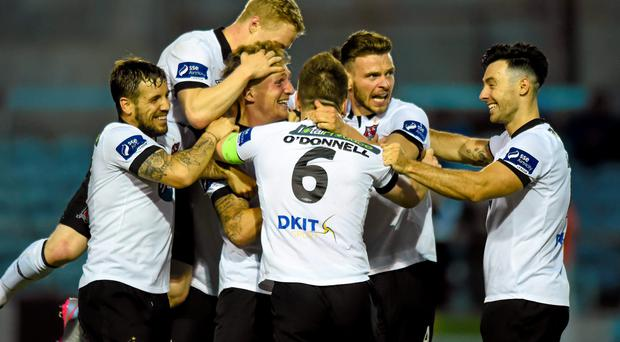 3 July 2015; John Mountney, third from left, Dundalk, is congratulated by team-mates after scoring his side's second goal. SSE Airtricity League Premier Division, Drogheda United v Dundalk, United Park, Drogheda, Co. Louth. Picture credit: Paul Mohan / SPORTSFILE